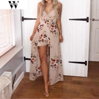 2017 New Women Gril Fashion Hot Sale Lowest Price Summer Sleeveless Flower Party Jumpsuit Playsuit Beach