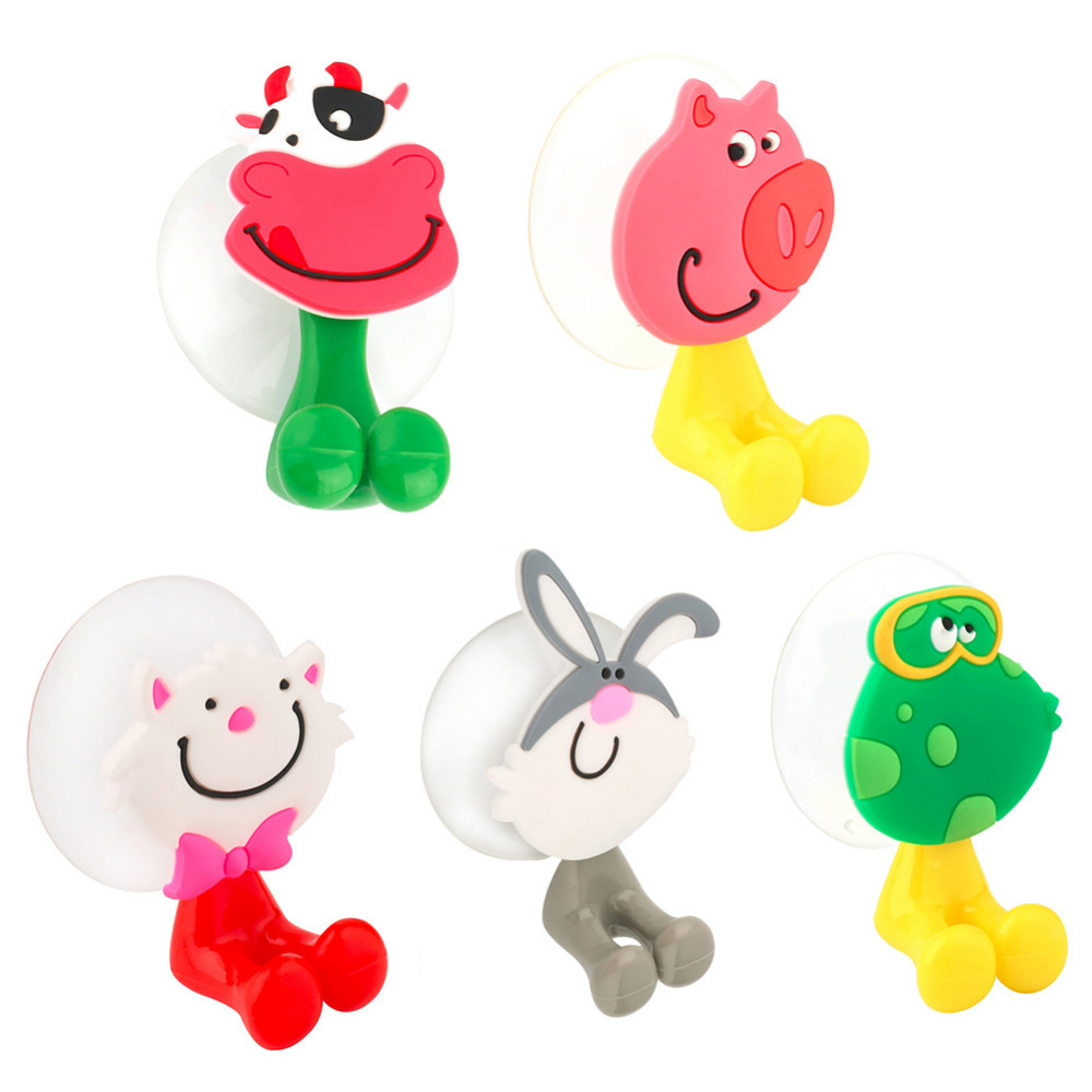 New Baby Care Cute Cartoon Animal Shape Holder Sucker Suction Hooks Set Hanging Baby Toothbrush Holder Towels Etc