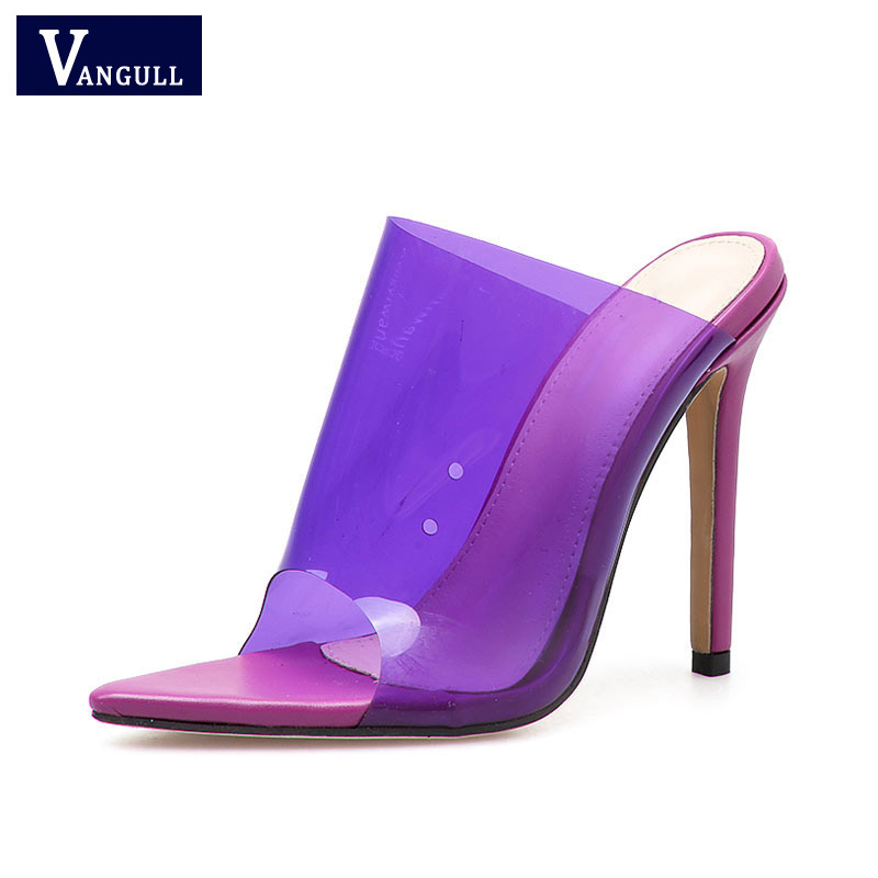2019 New PVC Purple Red Slippers Open Toed Sexy Thin Heels Women Transparent Heel Sandals Slides Pumps Jelly Shoes