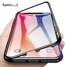 Магнитный адсорбционный чехол для iPhone XMAX X антидетонационный чехол из закаленного стекла для iPhone XR 7 8 Plus металлическая рамка Полная защита
