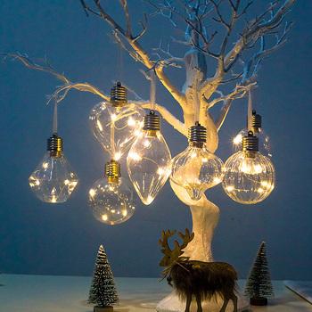 Boże narodzenie drzewo ozdoby dla zwierząt wiszące boże narodzenie kule żarówki żarówki domu dekoracja na przyjęcie ślubne symulacji światła żarówki oświetlenie wisiorek tanie i dobre opinie z mocniej Bez pudełka