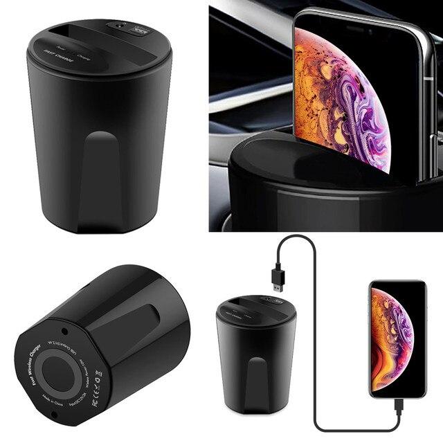 2018 Hình Trụ Màu Đen Hot Bán 10 W X8 Xe Sạc Không Dây Cup với USB Đầu Ra cho iPhoneXS/X/ 8