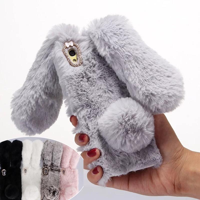 hot Fuzzy Fur Rabbit Plush Case for Sony Xperia XA 3D Cute