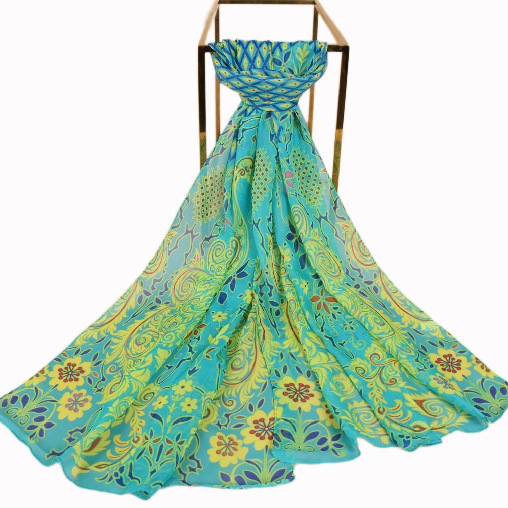 Fashion Women Chiffon   Scarf   Luxury Brand Girls Beach Silk   Scarves   Popular Female Flower   Scarf     Wrap   Shawl Lic
