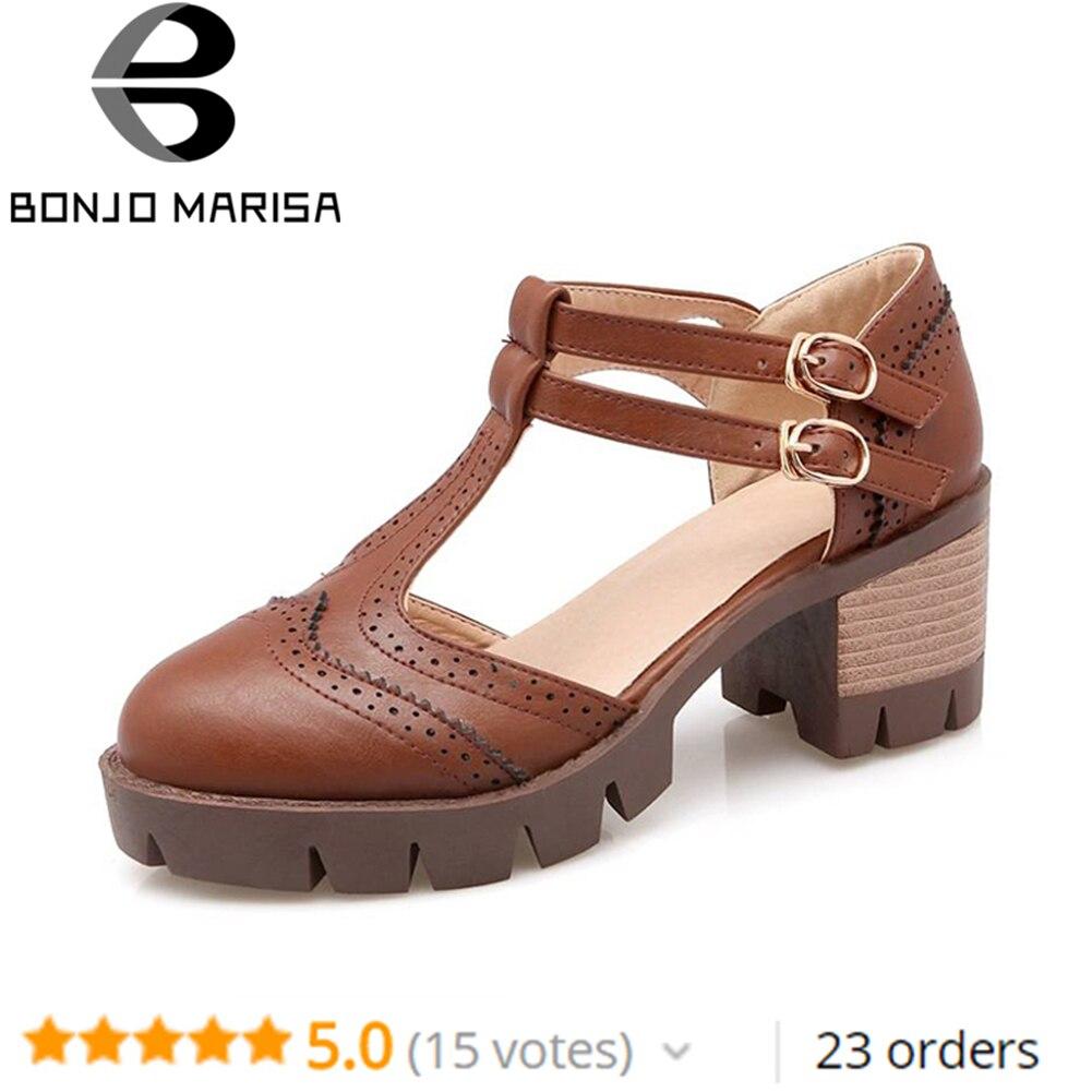 Bonjomarisa Große Größe Rom T Straps Chunky Heels Sommer Frauen Schuhe Frau Im Freien Beiläufigen Kleid Mädchen Frauen Gladiator Sandalen HöChste Bequemlichkeit