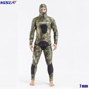 Image 1 - Erkekler profesyonel 5mm 7mm tayvan YAMAMOTO neopren Spearfishing takım elbise mevcut kapşonlu mühürlü iki parçalı dalış kuru Wetsuits