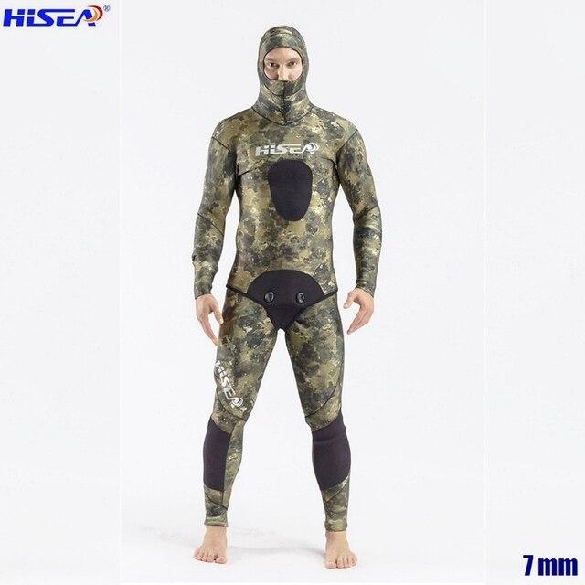 Erkekler profesyonel 5mm 7mm tayvan YAMAMOTO neopren Spearfishing takım elbise mevcut kapşonlu mühürlü iki parçalı dalış kuru Wetsuits