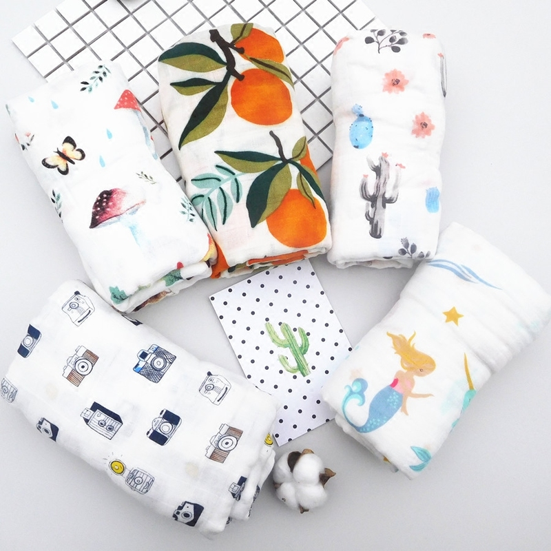 Baby Blanket Muslin Swaddle Wraps Cotton Bamboo Baby Blankets Newborn Bamboo Muslin Blankets 120x120cm Character Kid