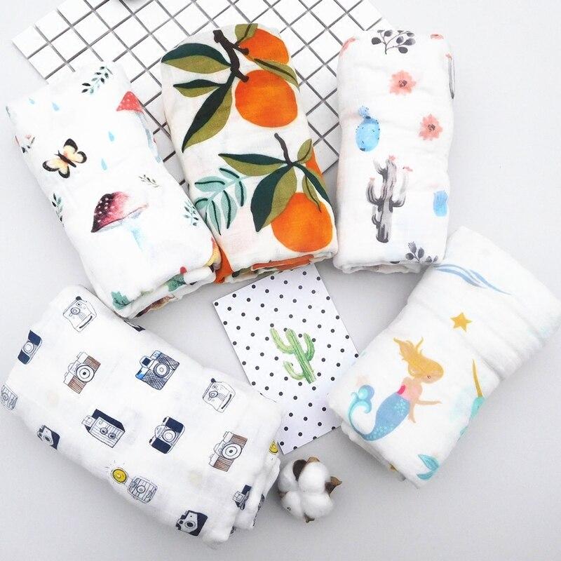 ruyi bebe Baby Blanket Muslin Swaddle Wraps Cotton Bamboo Baby Blankets Newborn Bamboo Muslin Blankets 120x120cm Character Kid
