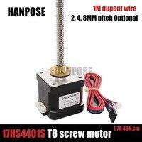 4 lead Nema 17 40mm Stepper Motor 42 17HS4401s 310mm T8 Screw Rod Linear Z Motor with Trapezoidal Lead Srew for 3D printer