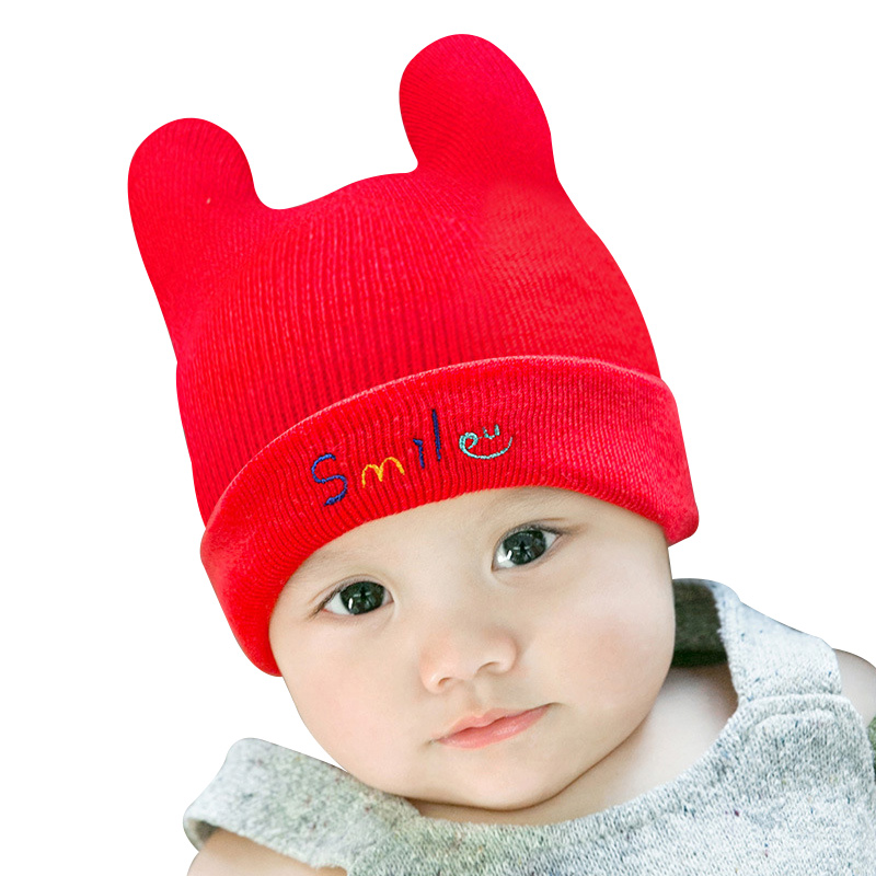 c4cd233a933 Smile Cute Baby Hat Knitted Cotton Infant Beanie Thick Autumn Winter Hat  For Girls Boys New Crochet Baby Beanie Hat Rabbit Ears-in Hats   Caps from  Mother ...