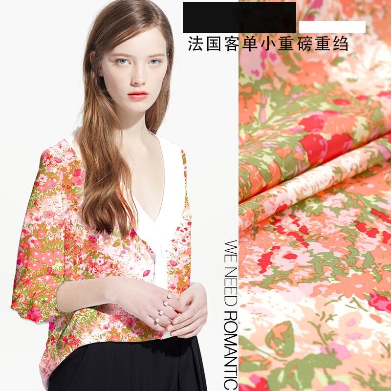 Summer heavy silk fabric printing fashion dress fabric re-crepe silk fabric pure silk fabric wholesale silk clothSummer heavy silk fabric printing fashion dress fabric re-crepe silk fabric pure silk fabric wholesale silk cloth