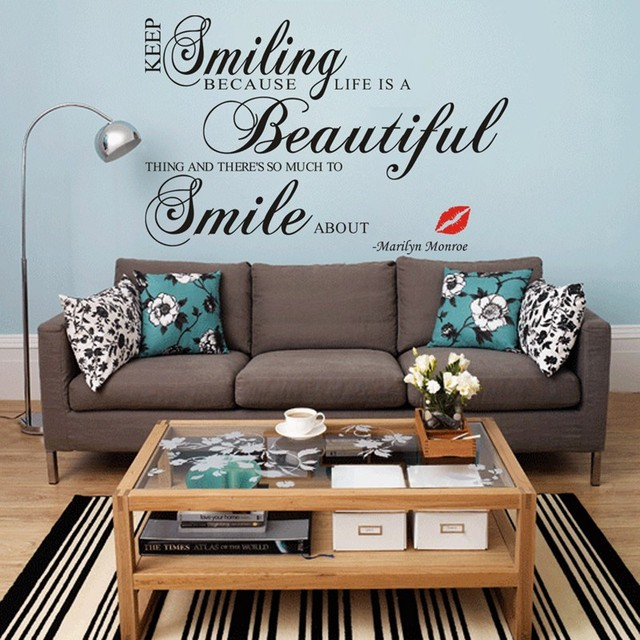 keep smiling famous star marilyn monroe english quote pvc wall sticker living room bedroom home