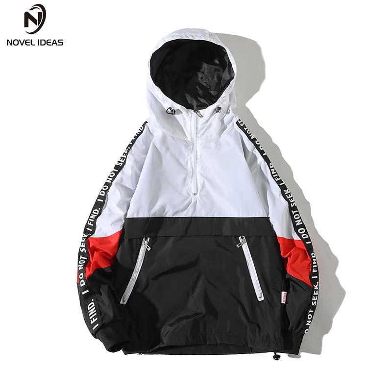 Hooded Jackets Men 2018 New Patchwork Color Block Pullover Jacket Fashion Tracksuit Casual Coat Men Hip Hop Streetwear