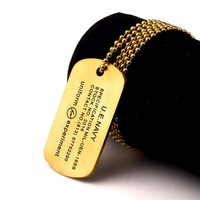 Army Style Titanium Steel Black Gold Silver Dog Tags Polished Army Military Pendant Lover Couple Necklace