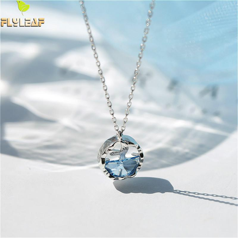 Flyleaf Blue Crystal Sea Mermaid Tail Necklaces & Pendants For Women 925 Sterling Silver Student Girl Gift Fashion JewelryFlyleaf Blue Crystal Sea Mermaid Tail Necklaces & Pendants For Women 925 Sterling Silver Student Girl Gift Fashion Jewelry