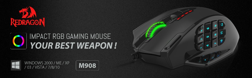 Redragon M908 IMPACT 12400 DPI RGB LED MMO Mouse Laser Wired Gaming Mouse  High Precision 19 Programmable Mouse Buttons