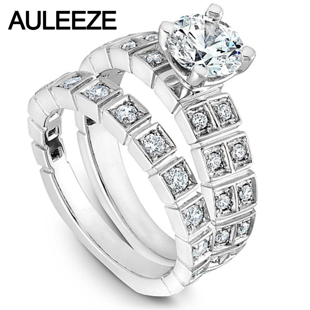 Vintage Square 1CT Moissanites Wedding Sets For Women Solid 14K White Gold Rings Band Lab Grown Diamond Engagement Wedding Set
