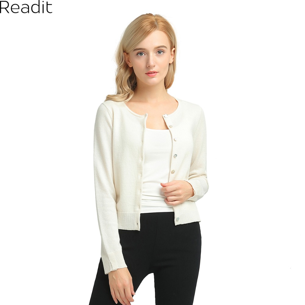 Aliexpress.com : Buy Readit White Knitted Long Sleeve Cardigan ...