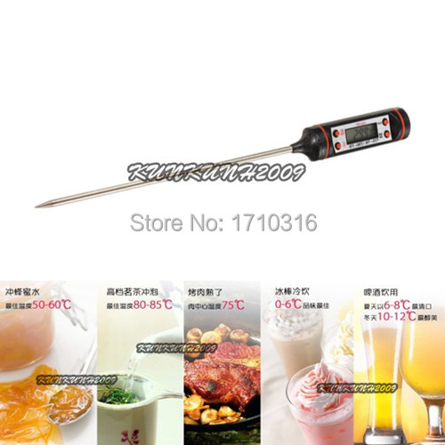 Hot Selling Black Portable Instant Digital Food Probe Cooking BBQ Meat Oven Grill Steak Chocolate Thermometer Kitchen Tool