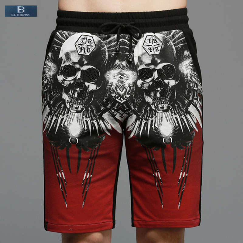 [EL BARCO] 2017 High Quality Cotton Skull Print Summer Men Casual Shorts Knee-Length Poc ...