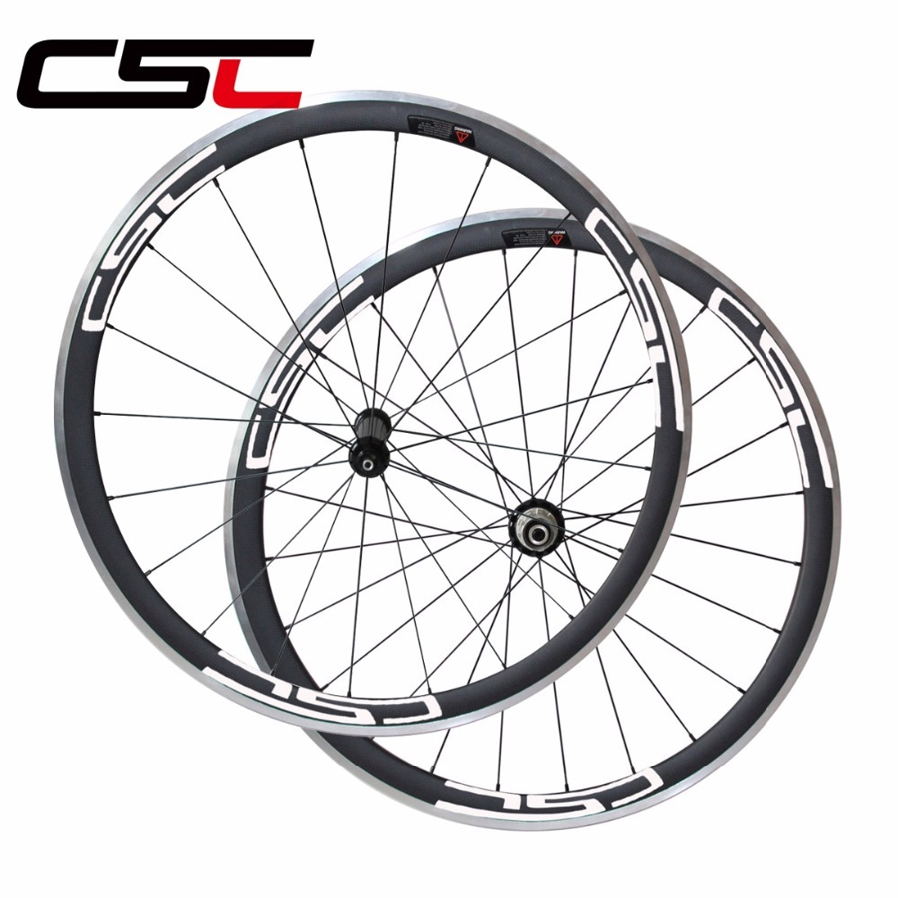 CSC 700C 23mm width 38mm deep clincher R36 hub bike wheelset with Aluminum alloy breaking surface road bicycle carbon wheels width 23mm oem chinese basalt brake surface 50mm tubular full carbon wheelset 700c carbon road bike wheels super light r36 hub