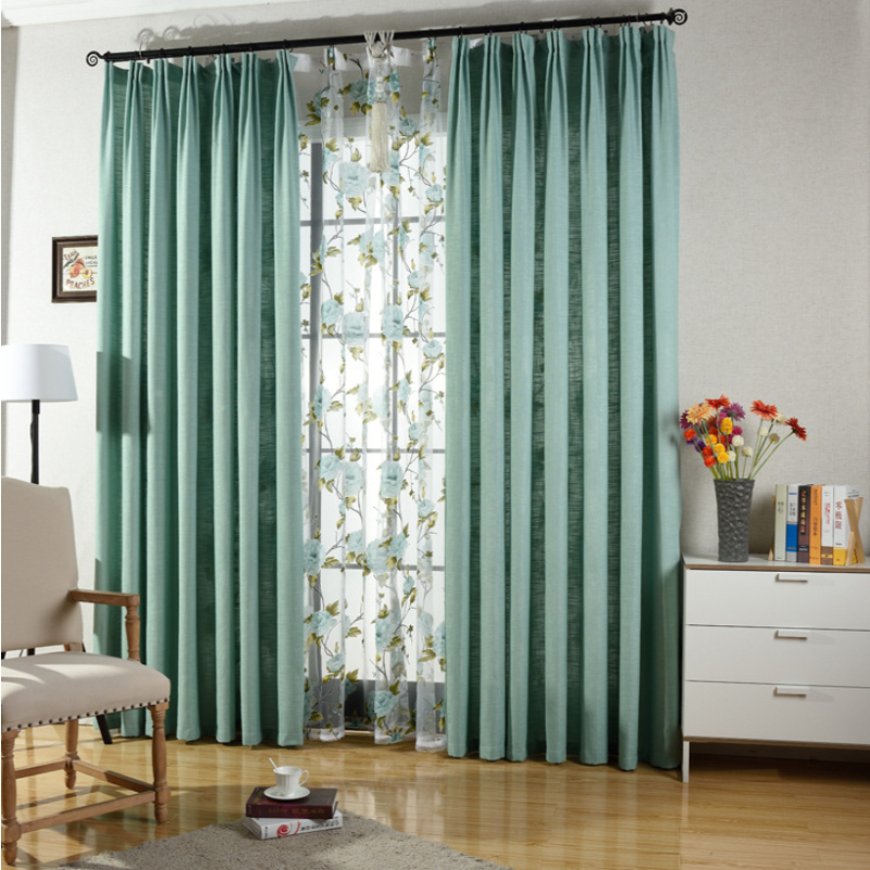 20 Fresh Bedroom Decorating Ideas Blending Modern Color: Classic Fresh Green Linen Cotton Blending Curtain For