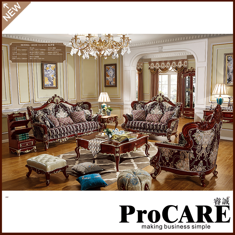 Luxury Living Room Furniture European Style Armchair Modern 123 Shaped Fabric Sectional Sofa Set Design Couches For