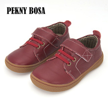 PEKNY BOSA Brand kids leather shoes Children barefoot shoes for boys unisex orthotic shoes girls size 31-35 brown red color цена