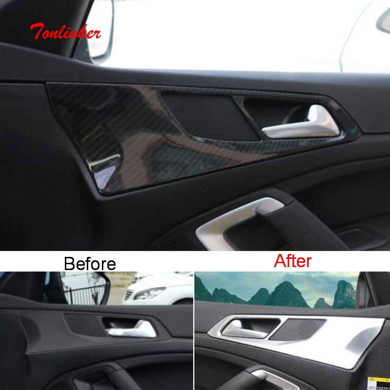 Tonlinker Interior Car Door Handle Cover Case Sticker For Peugeot 308 T9 2014-19 Car Styling 4 PCS ABS Carbon Cover Sticker