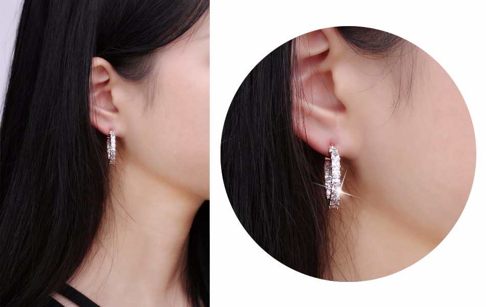 Effie Queen Big Round Hoop Female Earring Eternity Style with Shiny Zircon Bar Setting Luxury Earrings for Women Wholesale DE144 12