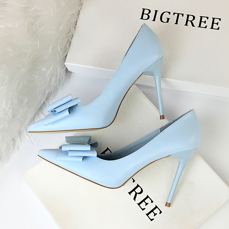 Sweet Butterfly-knot Shallow High Heels <font><b>Shoes</b></font> New Arrival Pointed Toe Fashion Women Pumps <font><b>Sexy</b></font> Side Cut-Outs Women's Party <font><b>Shoes</b></font> image