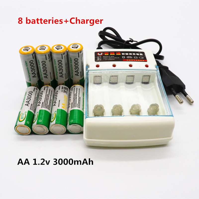 Daweikala AA Battery 3000 1.2V Quanlity Rechargeable Battery AA 3000mAh BTY NI-MH 1.2V Rechargeable 2A Battery 3000mAh+Charger