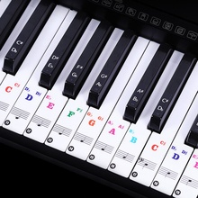 88/61 Key Color Piano Letter Notes Stickers Keyboard Hand Roll Transparent Notation