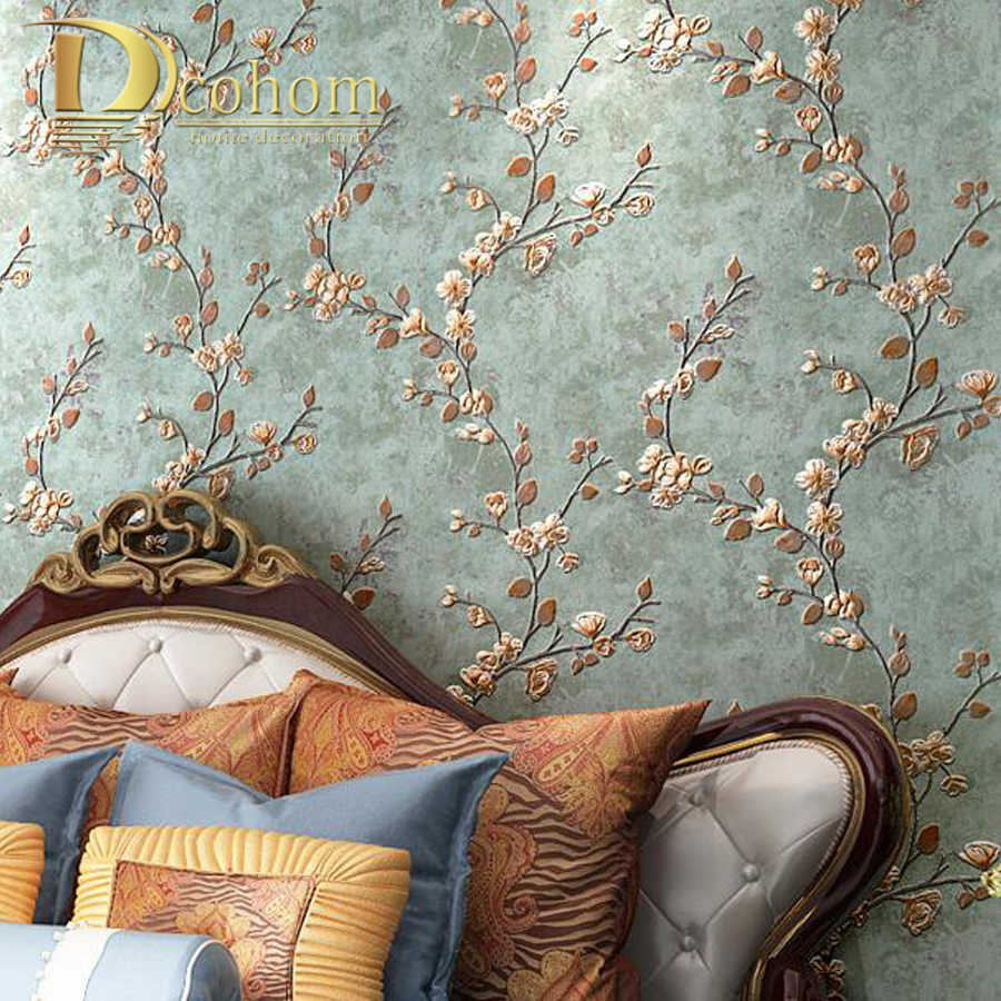Beige Color 3d Rustic Floral Embossed Wallpaper Plain Flower
