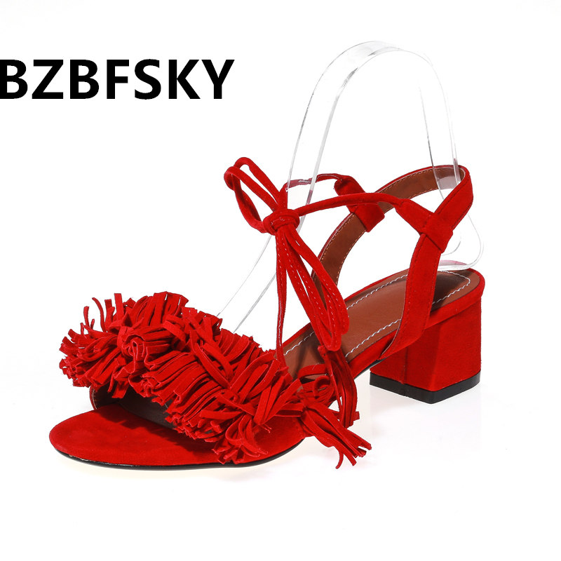 2017 Women Sandals Plus Size 34-43 New Hot Fashion Summer Office Mid Heel Casual Lace-Up Women Shoes Black Red classic design 2018 new summer fashion platform gladiator sandals women casual ladies dress black shoes woman plus size 34 43