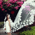 2017 White Vestido Veils Long 1pcs Free Shipping Part Dress Bridal Veil With Graceful Flowers Design Promotion Veu De Noiva