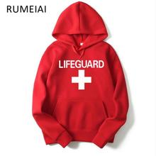 2017 Print Lifeguard man Hoodie Sweatshirt Red Life Guard New Unisex M-2XL