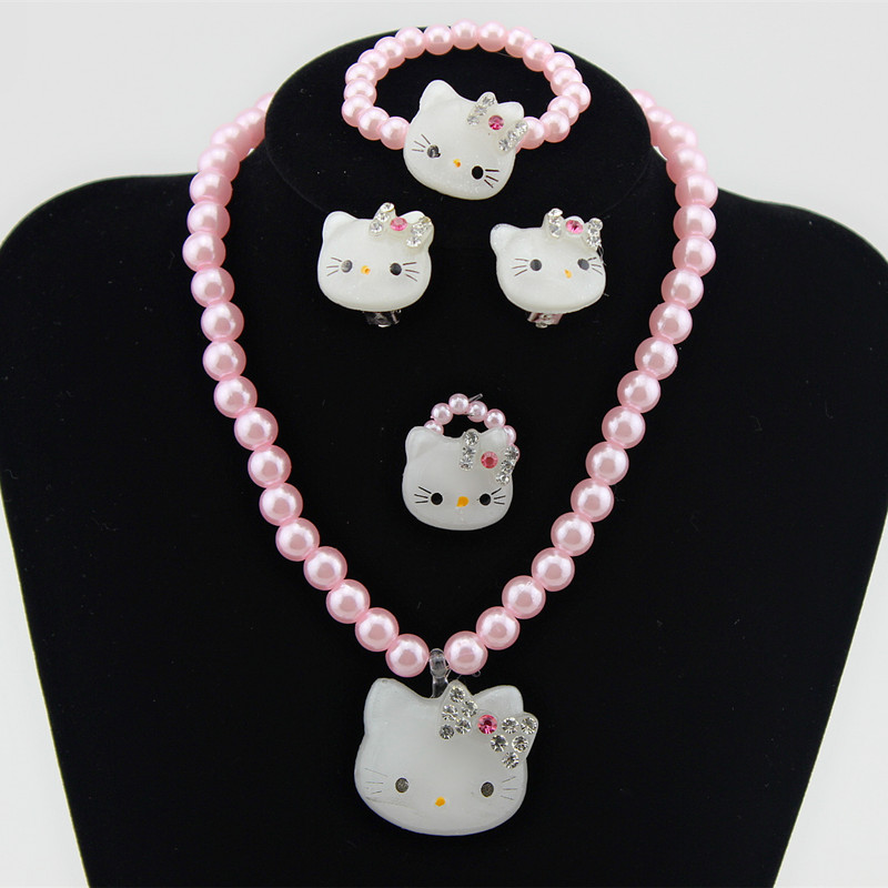 1Set=4pcs Girls Kids Baby Princess Crystal white/pink Hello Kitty Cat Necklace Imitation Pearl Beads Jewelry Set Children 1