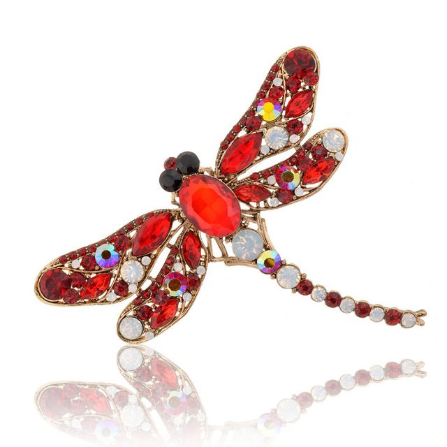 Dragonfly Crystal Rhinestone Scarf Pin / Brooches For Women