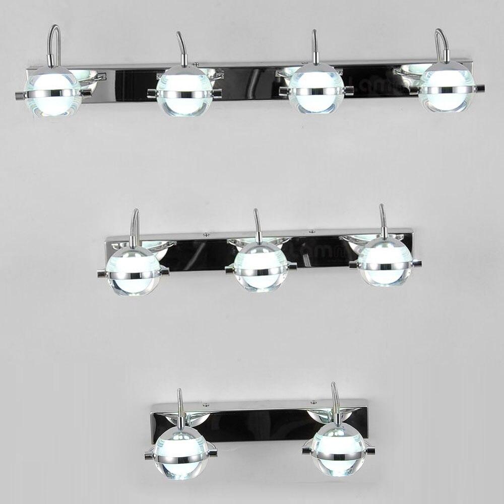 Современная Chrome светодиодный Ванная комната настенные светильники акрил абажур зеркало спереди настенные бра Санузел Кабинет Светодиодны