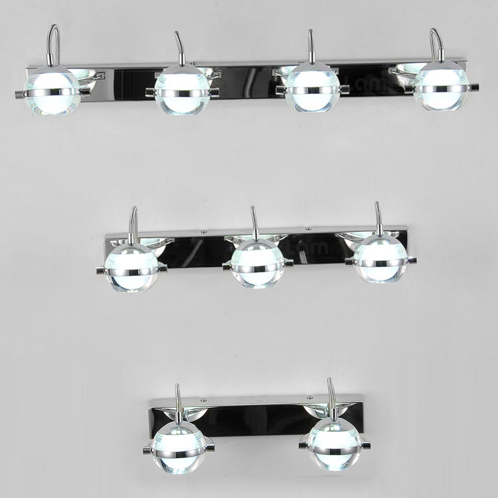 Modern Chrome LED Bathroom Wall Lights Acrylic Lampshade Mirror ...