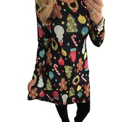 5XL Big Size New Year Christmas Dress Deer Printed Dresses 2019 Winter Loose Casual Family Party Dresses Women Plus Size Vestido 5