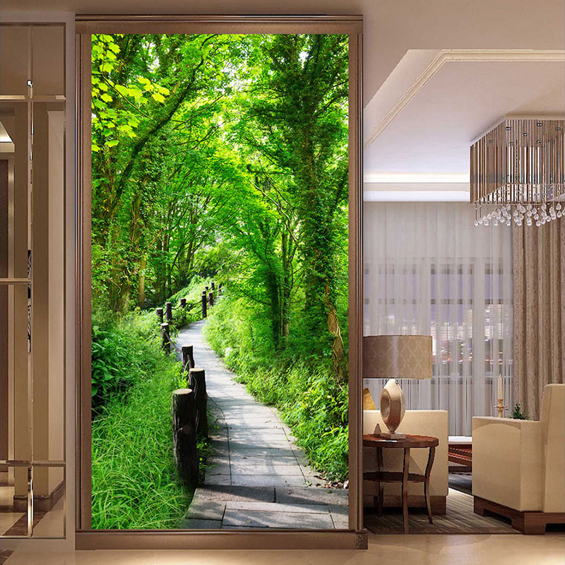 Custom Photo Wallpaper Wall Covering For Walls 3D Forest Trail Nature Landscape Wall Painting Entrance Backdrop Wall Mural Paper