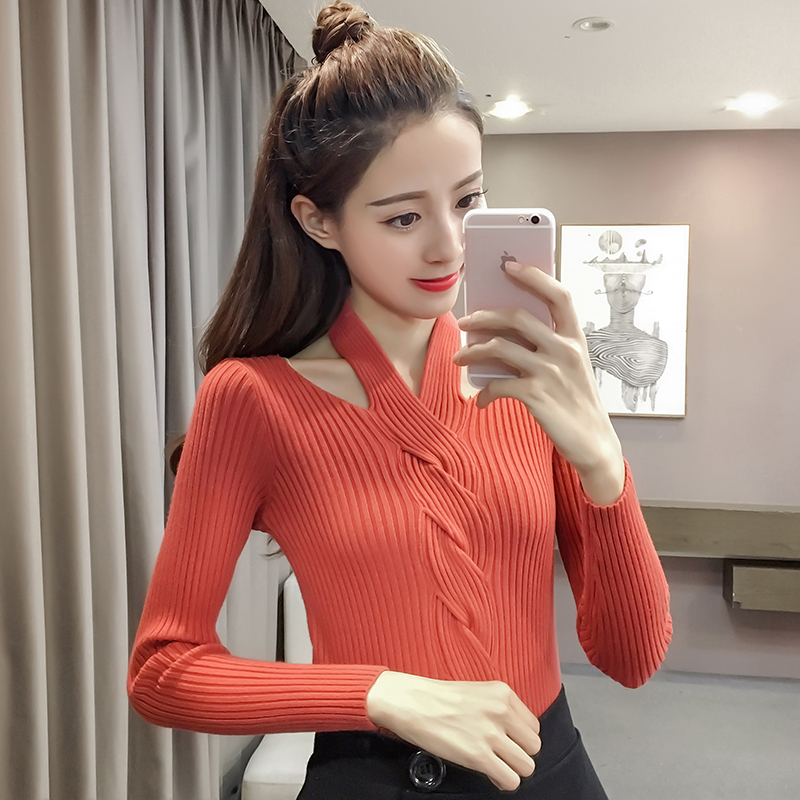 2019 Autumn Winter Women Slim Full Sleeve Halter Neck Sweaters Pullovers Tops Girls Slim Fashion Sweater Clothing For Female