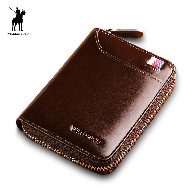 WILLIAMPOLO 2018 Leather Men Wallets Short Coin Purse Small Vintage Wallet Card Holder Pocket Purse Men Wallets POLO275 williampolo mens mini wallet black purse card holder genuine leather slim wallet men small purse short bifold cowhide 2 fold bag