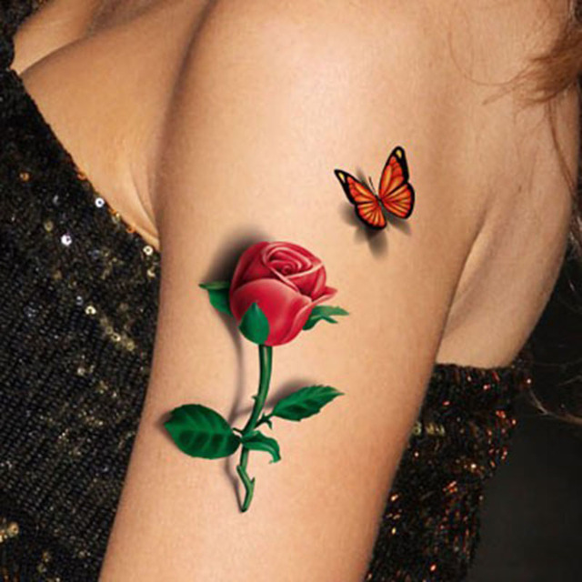 Rose Tattoo Women 3d Body Tattoo Temporary Flower Red Rose Tattoos