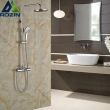 Good Quality Two Handle Thermostat Faucet Anti-scald Bathroom 8″ Rainfall Bath Shower Mixers with Hand Shower