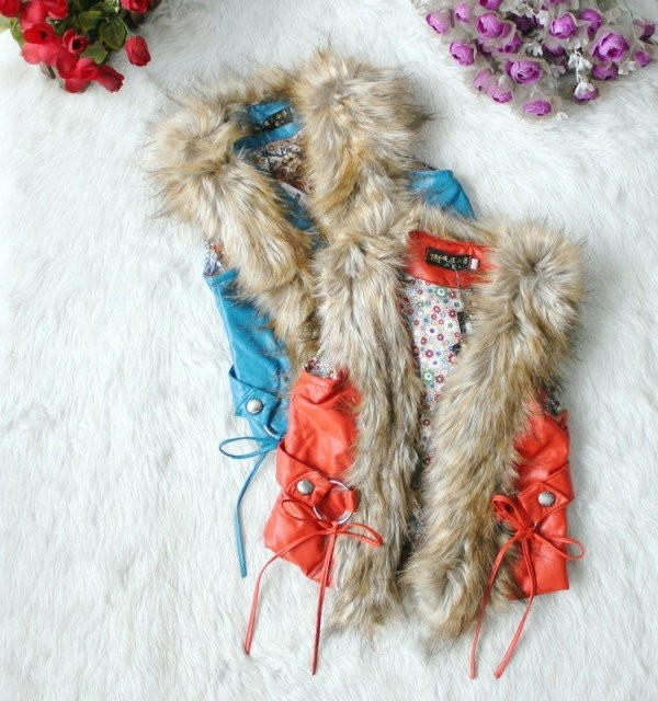 EMS-DHL-Free-Shipping-Kids-Toddler-Girls-Children-Wear-Orange-Blue-Winter-Faux-Fur-Waistcoat-Vest