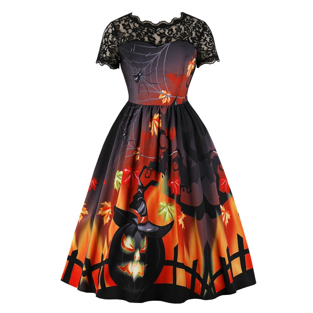 2018 Vintage Sweet Elegant Lovely Halloween Women <font><b>Dresses</b></font> Expansion Zipper Plant Lace Print Girls Cute Female <font><b>Orange</b></font> <font><b>Dress</b></font>